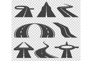 Winding curved road or highway with