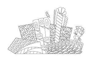 Vector doodle flowerbed. Floral