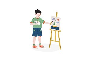 Boy Painting Picture on Easel