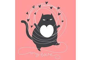 Valentines day cat card