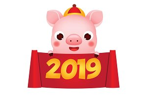 2019 chinese new year pig banner