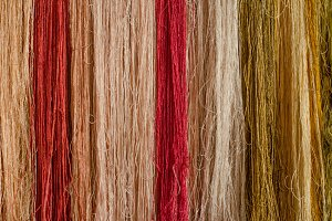 Raw silk thread background.