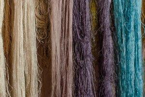 Raw silk thread background.