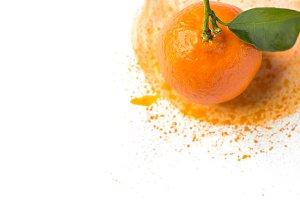 Ripe tangerine on watercolor splash