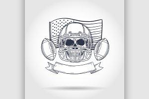 Sketch skull american football