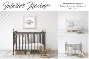 Metal crib. Wall & Frames Mockup.
