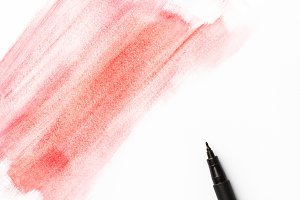 Red pink watercolor brush strokes