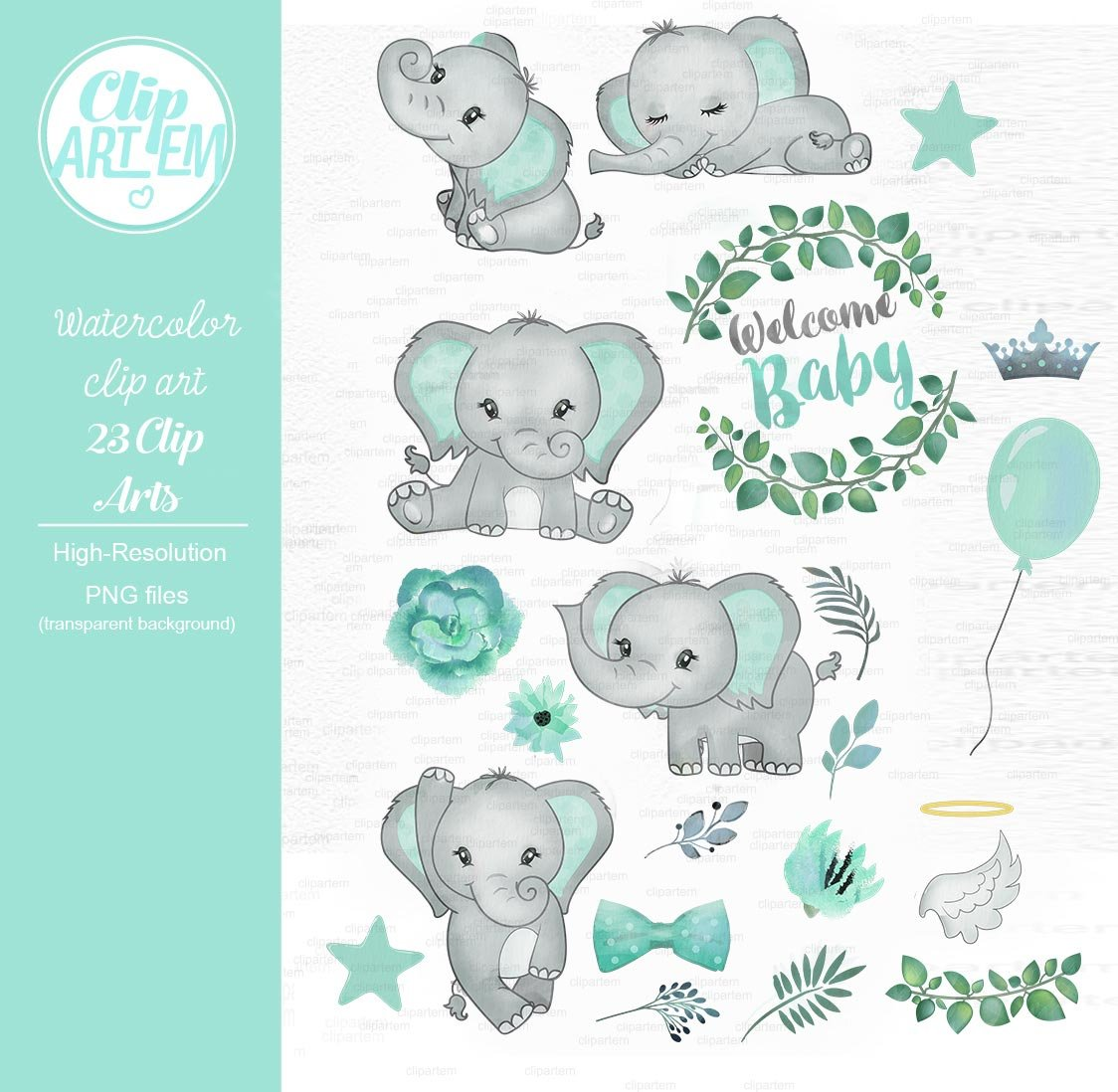 Baby elephant watercolor clipart ~ Illustrations ...