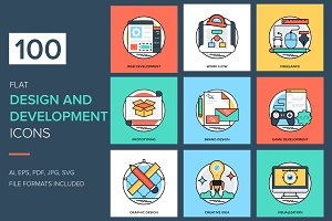 100 Flat Design and Development Icon