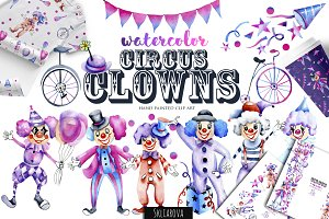 Circus clowns. Watercolor clip art.