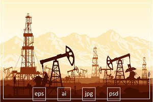 Oil pumps and drilling rigs (vector)