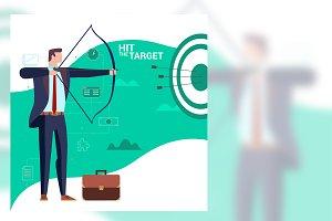 Archer Businessman Flat Illustration