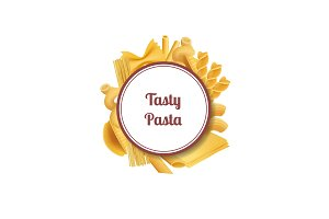 Vector realistic pasta types with
