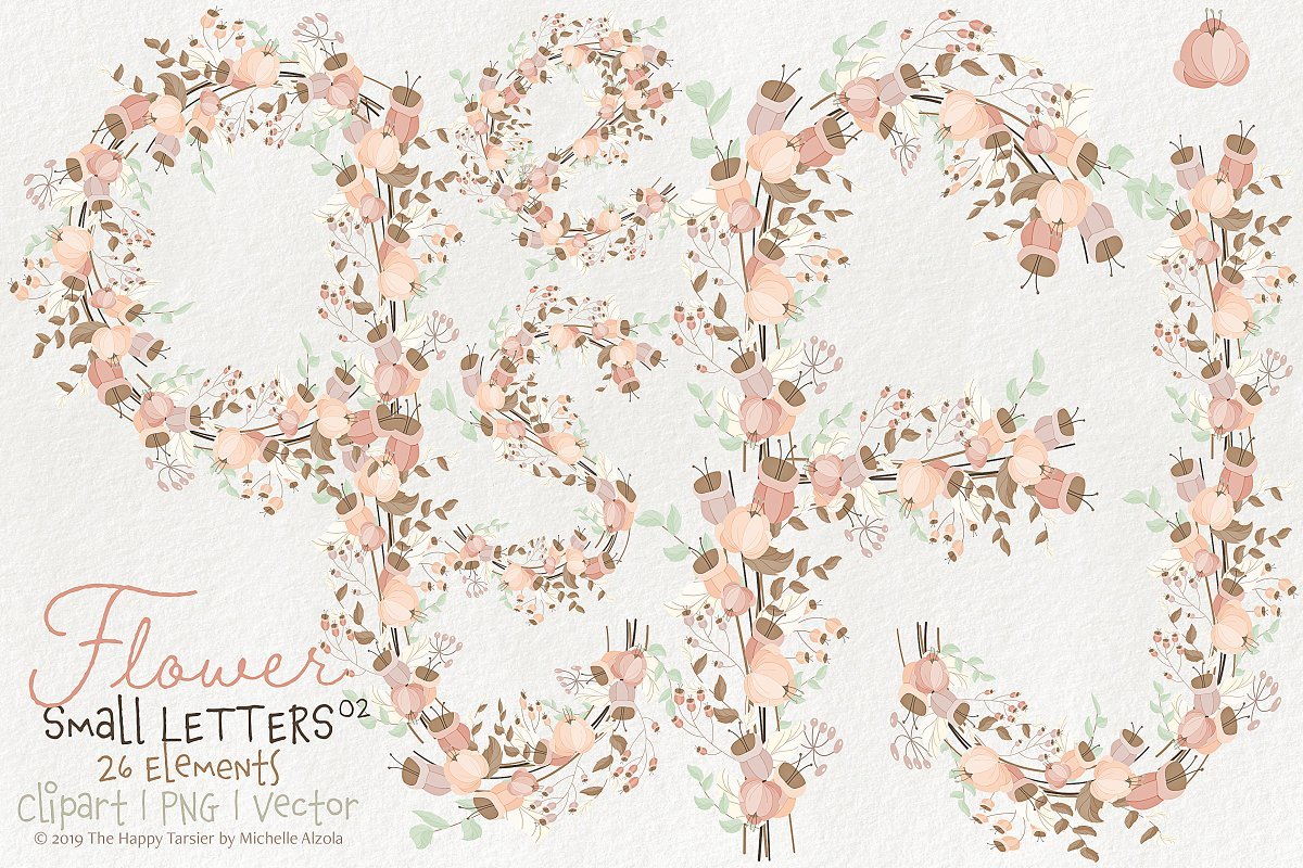 Flower Lower Case Letters 02BI07 in Illustrations - product preview 8