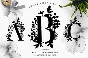 Bouquet Floral Alphabet - Vector SVG