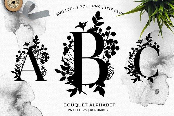 Bouquet Floral Alphabet Vector Svg Pre Designed Photoshop Graphics Creative Market