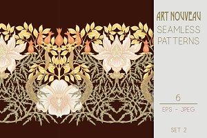 6 Art Nouveau Seamless Patterns