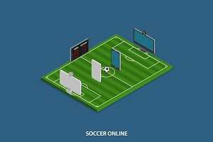 Soccer Online Isometric Concept