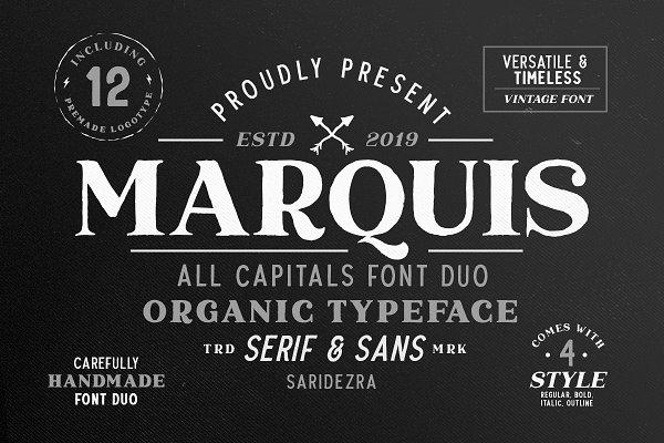 Serif Fonts: Sarid Ezra - Marquis - Organic Font Duo (+EXTRAS)