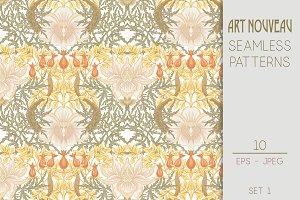 10 Art Nouveau Seamless Patterns