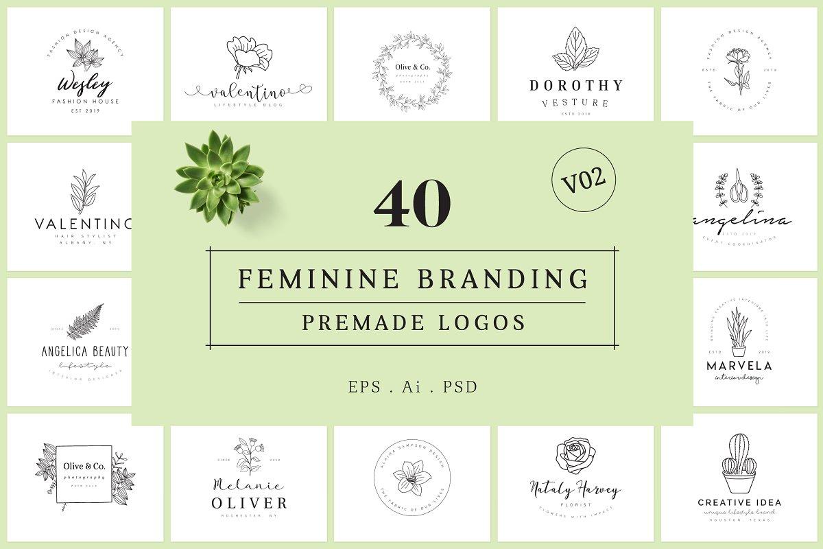 Скачать [Creativemarket] Feminine Branding Premade Logos V02 (2019), Отзывы Складчик » Архив Складчин