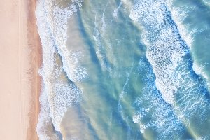 Aerial view on the waves