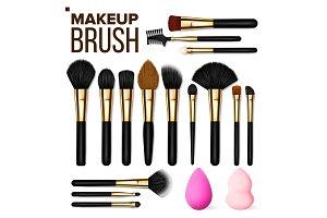 Makeup Brush Set Vector. Cosmetic