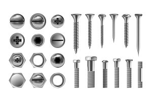 Metal Screw Set Vector. Stainless