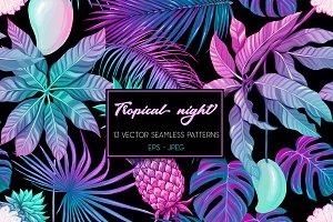 13 Tropical Night Seamless Patterns