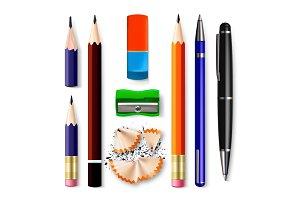 Pen, Pencil Stationery Set Vector