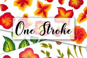 150 One stroke flowers style.