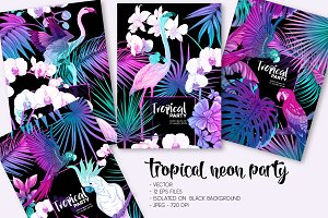 Tropical Neon Party Invitations