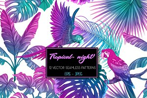 12 Tropical Night Seamless Patterns