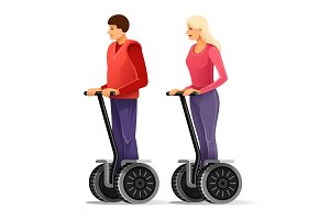 Tourists on segways. Young couple.