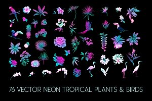 76 Neon Tropical Plans and Birds
