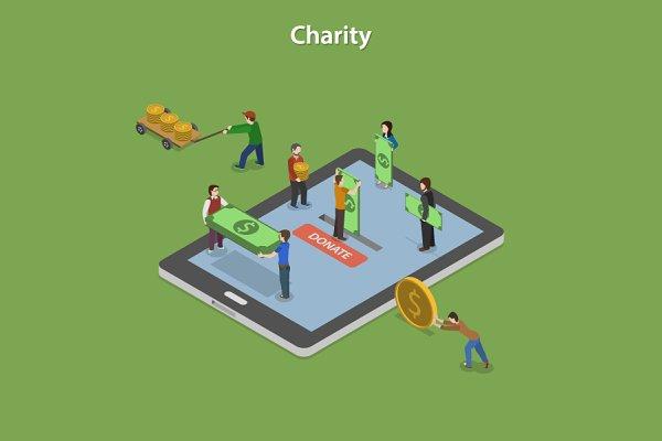 Charity Flat Isometric Concept