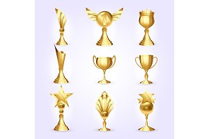 Trophy Cups Set Vector. Success