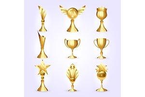 Trophy Cups Set Vector. Success