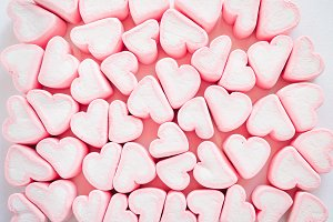 Pink marshmallow background, Many he