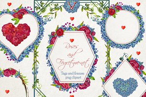 Love frames and tags watercolor png