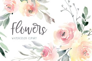 Watercolor Wedding Soft Flowers PNG