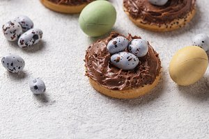 Easter cookies in shape of nest with