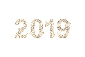 Number 2019 year patterned