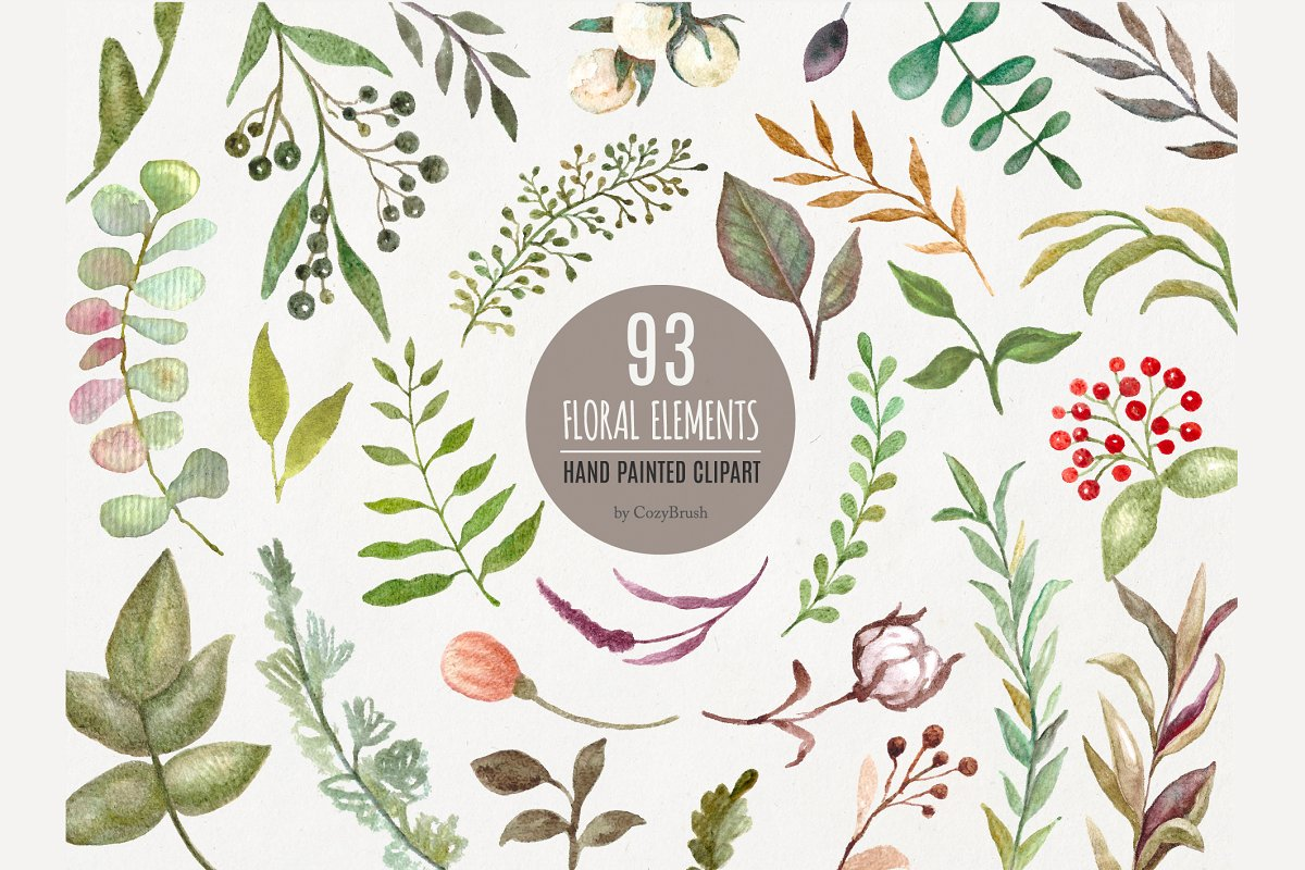 Leaves Foliage Hand Painted Clipart