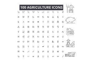 Agriculture editable line icons