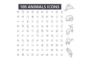 Animals editable line icons vector