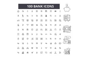 Bank editable line icons vector set