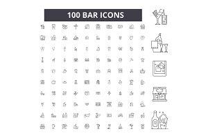 Bar editable line icons vector set