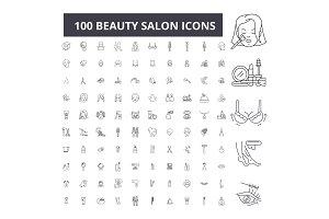 100 beauty salon editable line icons