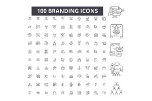 Branding editable line icons vector
